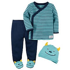 Baby Boy Carter's Babysoft Striped Tee, Monster Footed Pants & Hat Set