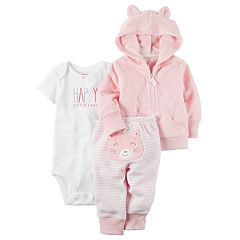 Baby Girl Carter's 'Happy Little Lady' Bodysuit, Hooded Cardigan & Kitty Striped Pants Set