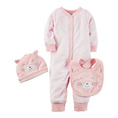 Baby Girl Carter's Striped Coverall, Cat Hat & Bib Set
