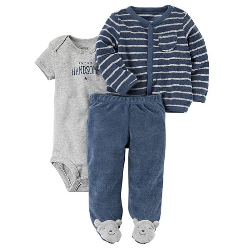 """Baby Boy Carter's """"Super Handsome"""" Graphic Bodysuit, Striped Terry Cardigan & Footed Pants Set"""