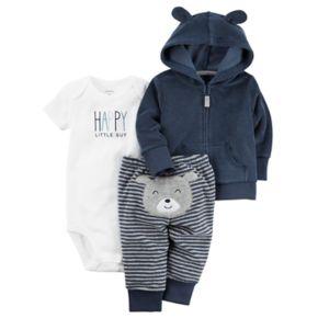 "Baby Boy Carter's ""Happy Little Guy"" Bodysuit, Hooded Cardigan & Striped Pants Set"