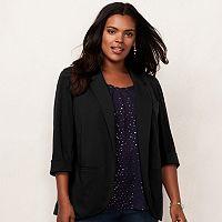 Plus Size LC Lauren Conrad Ponte Open-Front Blazer