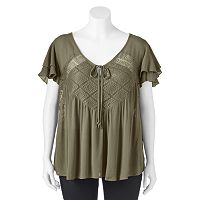 Juniors' Plus Size IZ Byer California Illusion Lace Flutter Top