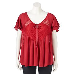 Juniors' Plus Size IZ Byer Illusion Lace Flutter Top