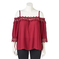 Juniors' Plus Size IZ Byer Crochet Off The Shoulder Top