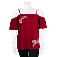 Juniors' Plus Size IZ Byer Floral Off-The-Shoulder Top