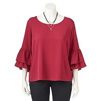 Juniors' Plus Size IZ Byer Ruffle Sleeve Top