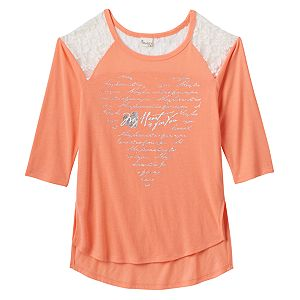 Girls Plus Size Mudd® Raglan Lace High-Low Graphic Tee