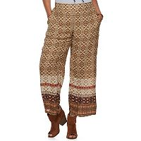 Junior's Plus Size IZ Byer Print Wide-Leg Soft Pants