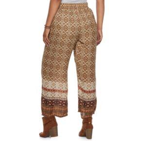 Junior's Plus Size IZ Byer Print Wide-Leg Soft Pants