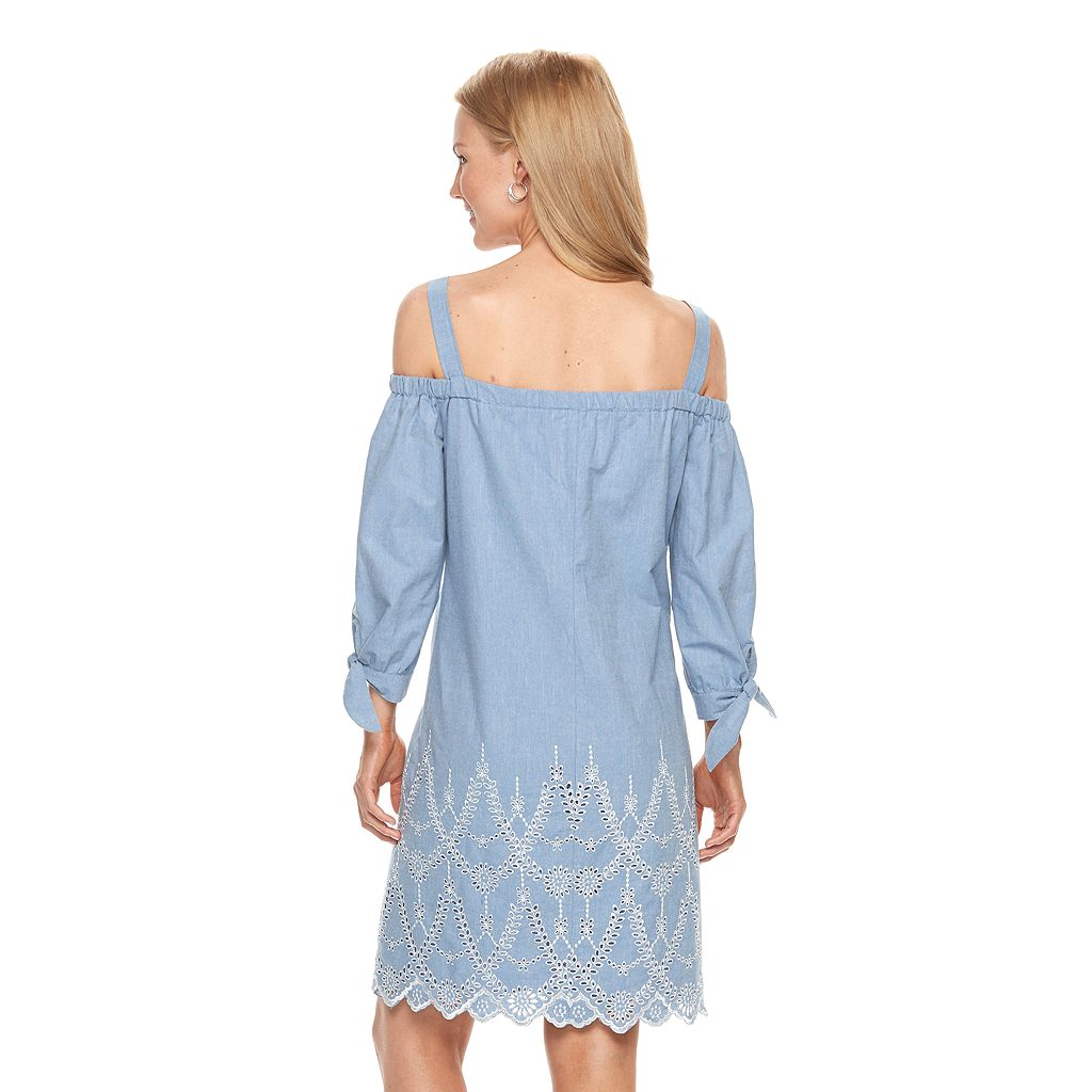 Women's Jessica Howard Off-the-Shoulder Embroidered Shift Dress