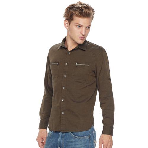 Big & Tall Rock & Republic Classic-Fit Herringbone Stretch Roll-Tab Button-Down Shirt