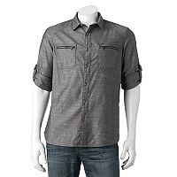 Big & Tall Rock & Republic Classic-Fit Herringbone Stretch Roll-Tab Button-Down Shirt