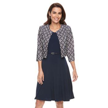 Women's Jessica Howard Geometric Jacket & A-Line Dress Set