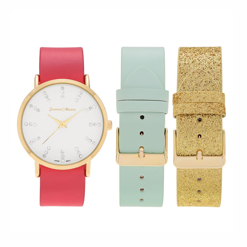 Journee Collection Women's Crystal Watch & Interchangeable Band Set