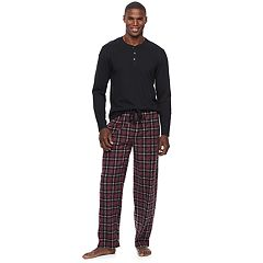 Men's Chaps Henley & Plaid Microfleece Lounge Pants Set