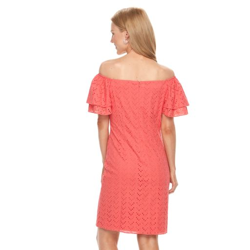 Women's Jessica Howard Off-the-Shoulder Eyelet Shift Dress