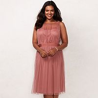 Plus Size LC Lauren Conrad Shirred Tulle Dress