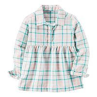 Toddler Girl Carter's Turquoise & Peach Plaid Patterned Top