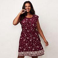 Plus Size LC Lauren Conrad Pleated Paisley Shift Dress