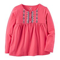 Toddler Girl Carter's Heart Tribal Pattern Embroidered Yoke Pink Top