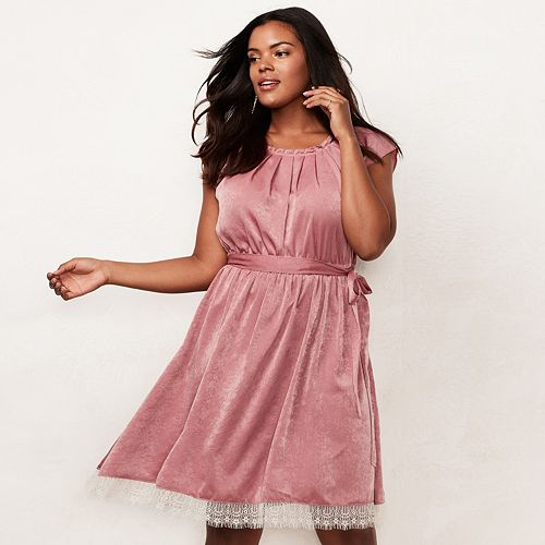 Plus Size LC Lauren Conrad Lace Pleated Fit & Flare Dress