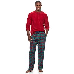 Men's Chaps Microfleece Top & Plaid Flannel Lounge Pants Set