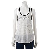 Juniors' SO® Active Racerback Graphic Tank