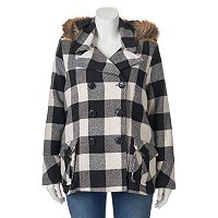 Juniors' Plus Size Urban Republic Wool Blend Buffalo Check Peacoat