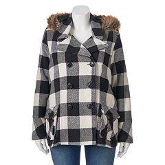 Juniors' Plus Size Urban Republic Wool Blend Buffalo Check Peacoat