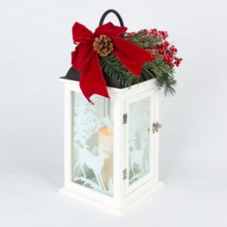 Gerson Frosted Reindeer LED Candle Lantern