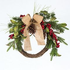 Gerson Burlap Bow & Artificial Berries Pinecone Wreath