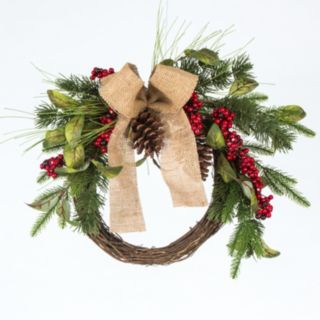 Gerson Burlap Bow & Artificial Berries Pinecone Wreath