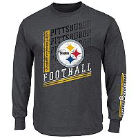 Big & Tall Majestic Pittsburgh Steelers Two Hits Tee