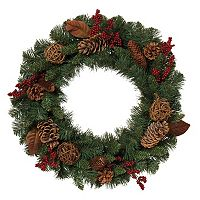 Gerson Artificial Berry, Twig Ball & Pinecone Wreath