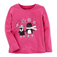 Toddler Girl Carter's Penguin Ice Skating Graphic Tee