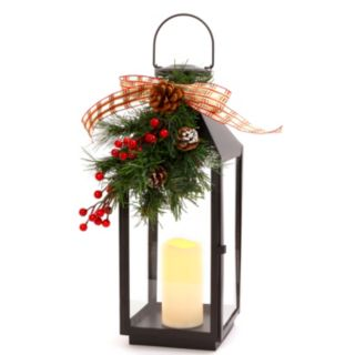 Gerson Artificial Berry & Pinecone LED Candle Lantern