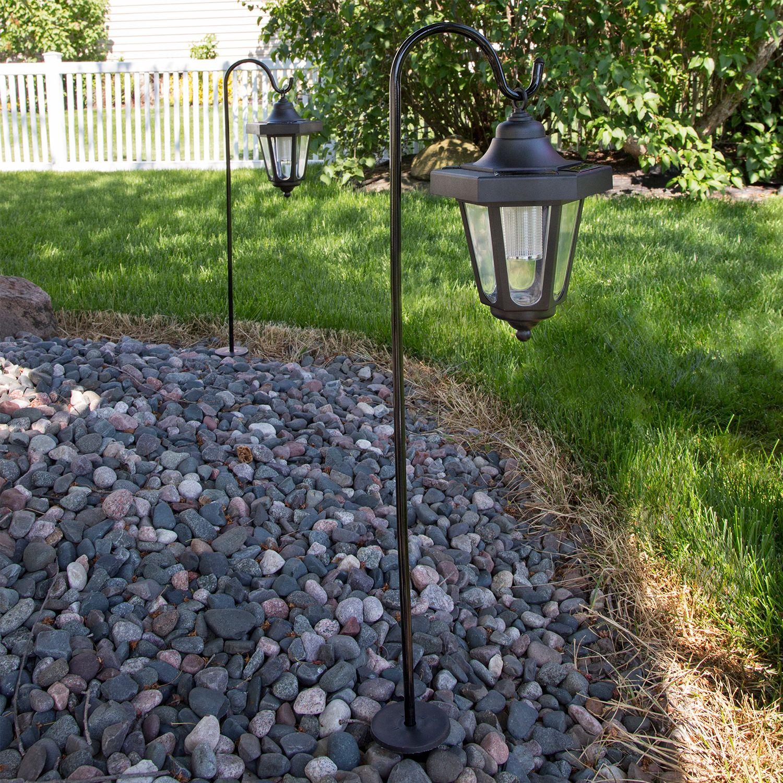 Navarro Outdoor Solar LED Lantern Garden Stake 2 Piece Set