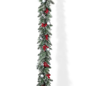 Gerson Artificial Berry & Ornament Snowy Christmas Garland