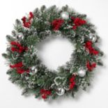 Gerson Artificial Berry & Ornament Snowy Christmas Wreath