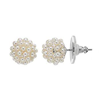 Simulated Pearl Cluster Nickel Free Ball Stud Earrings
