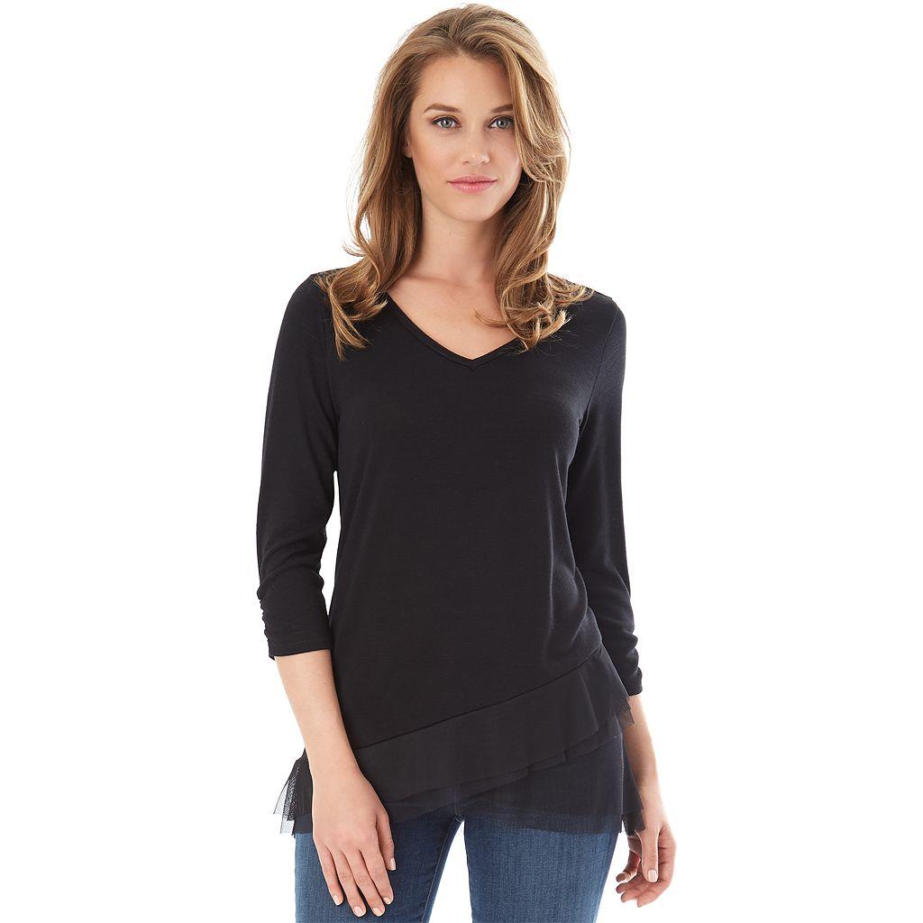 Women's Apt. 9® Solid Asymmetrical Top