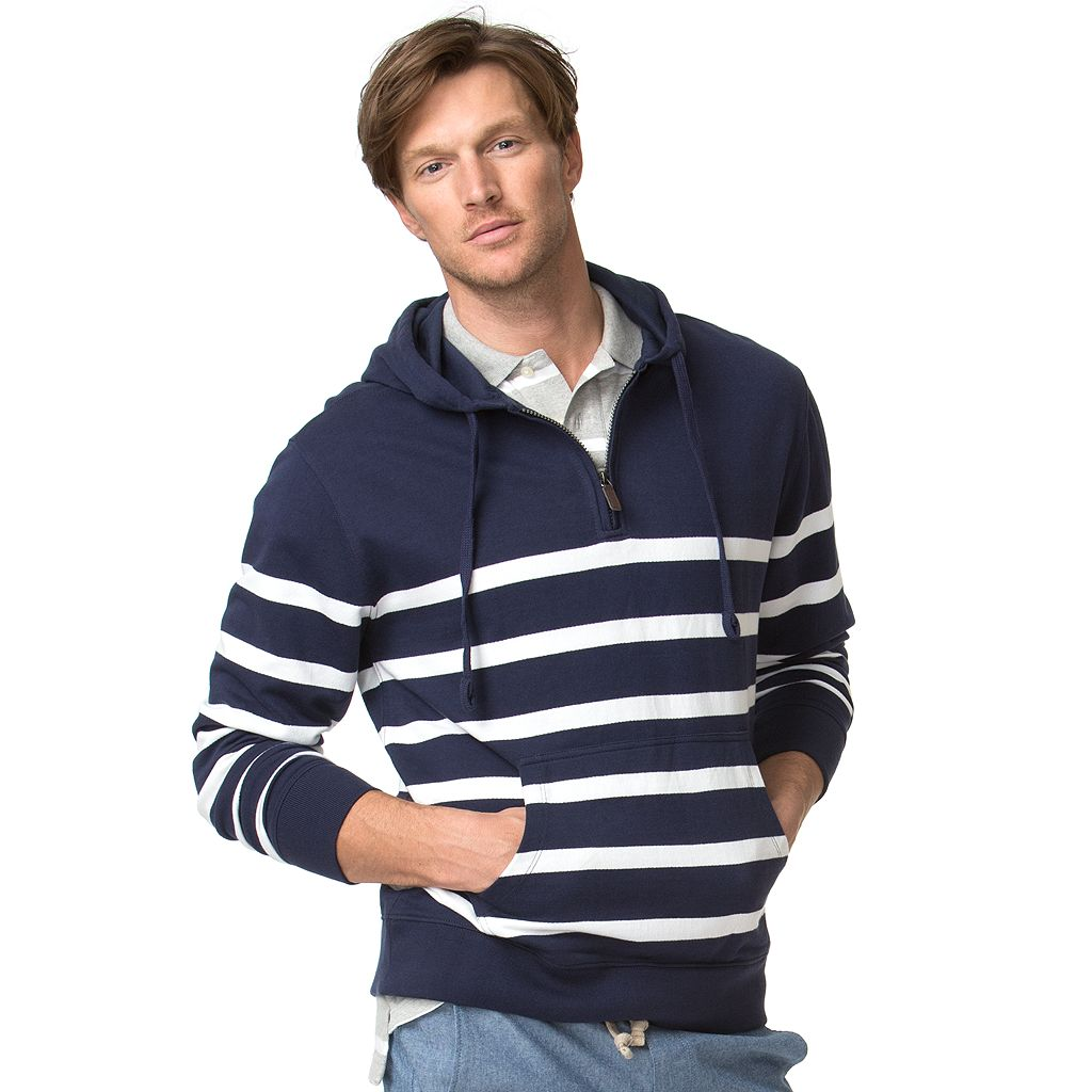 Big & Tall Chaps Classic-Fit Engineer-Striped Terry Quarter-Zip Hoodie