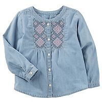 Girls 4-12 OshKosh B'gosh® Embroidered Buttonfront Top