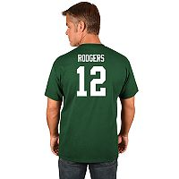 Big & Tall Majestic Green Bay Packers Aaron Rodgers Name and Number Tee