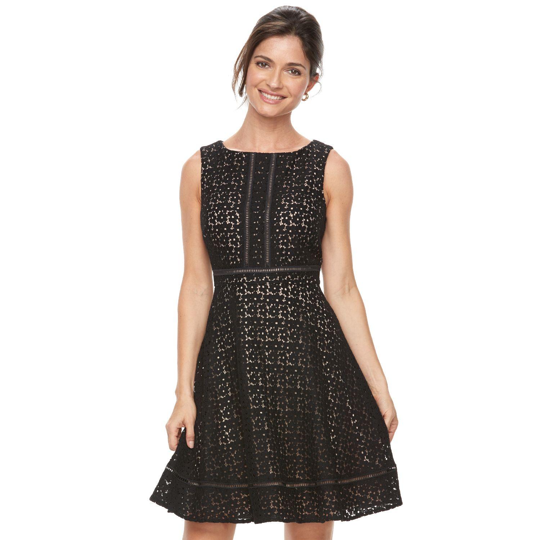 Womenu0027s Jessica Howard Lace Overlay Fit U0026 Flare Dress