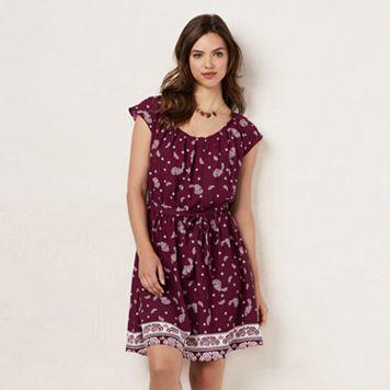 Women's LC Lauren Conrad Pleated Paisley Shift Dress
