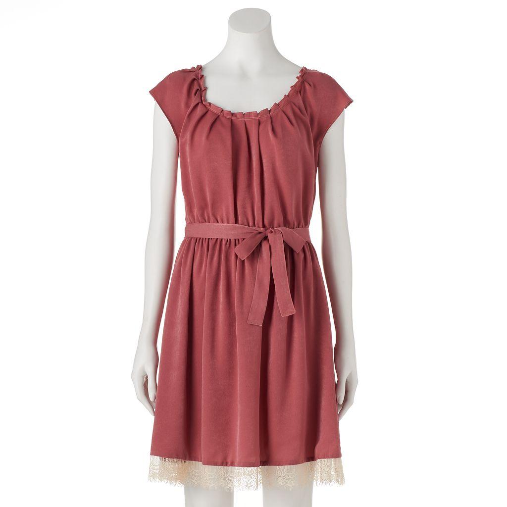 Women's LC Lauren Conrad Lace Pleated Fit & Flare Dress