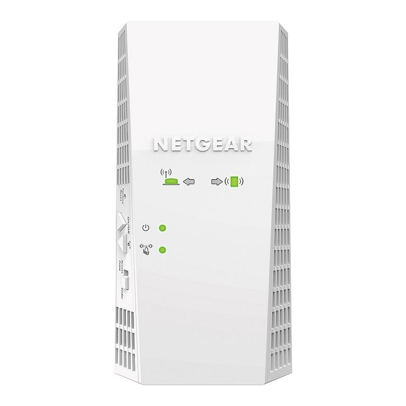 Netgear AC1900 WiFi Range Extender, White Eliminate dead zones for seamless Wi-Fi coverage with this Netgear range extender. Boosts your existing network range, delivering AC dual band Wi-Fi up to 1900Mbps Compatible with any standard Wi-Fi router Ideal for HD video streaming & gaming 6.3 H x 3.2 W x 1.8 D Weight: 0.7 lbs. Connectors: 110/100/1000 Ethernet ports with auto-sensing technology Wireless: Ieee 802.11 b/g/n 2.4GHz, Ieee 802.11 a/n/ac 5GHz Manufacturer's 1-year limited warrantyFor warranty information please click here For information about the modified return policy, please click here Model no. EX6400-100NAS Size: One Size. Color: White.
