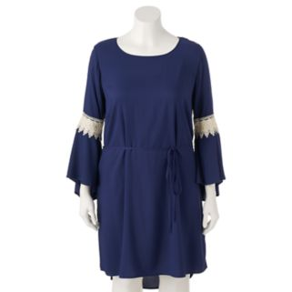 Juniors' Plus Size Wrapper Lace Bell Sleeve Shift Dress